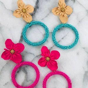 Seed Bead Hoop & Flower Spring Earring, NWT